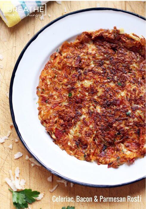 Low Carb Celeriac Bacon Parmesan Rosti