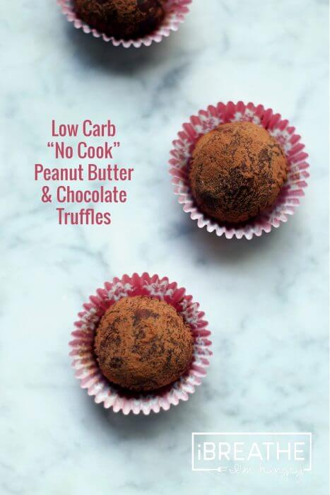 A low carb peanut butter truffle recipe from Mellissa Sevigny of I Breathe Im Hungry