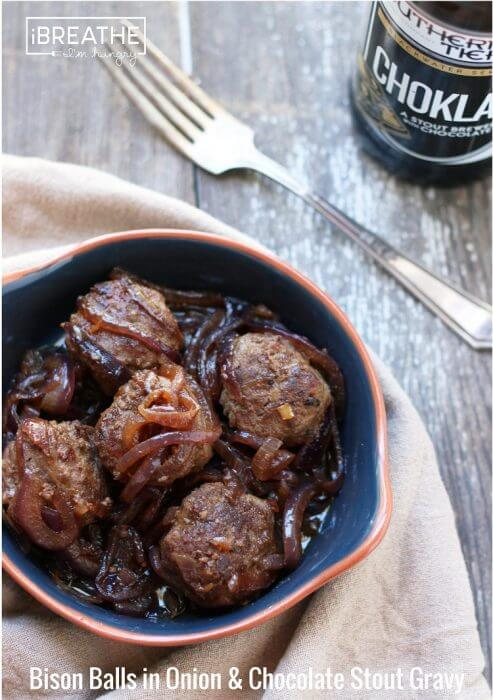Beer Braised Bison Meatballs - a low carb, keto, lchf, and Atkins friendly recipe from Mellissa Sevigny of I Breathe Im Hungry