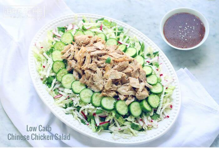 An Asian inspired Low Carb Chicken Salad that is easy to make, dairy and egg free, and keto friendly!