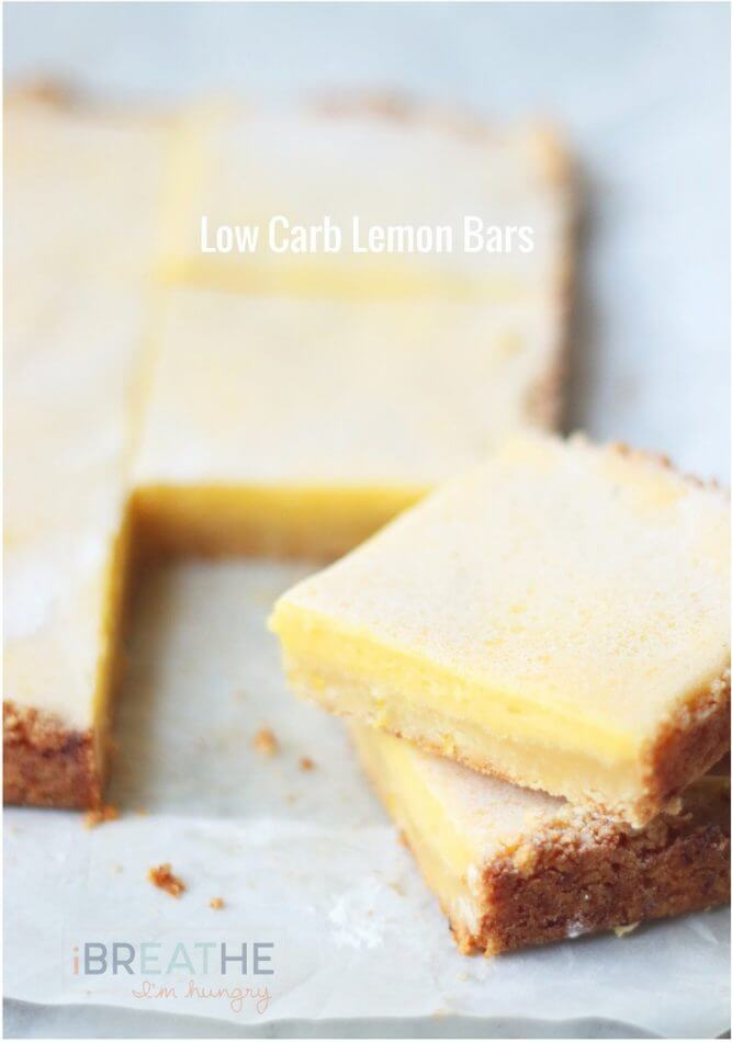 A low carb, gluten free, and keto friendly lemon bars recipe from I Breathe Im Hungry