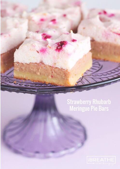These Strawberry Rhubarb Meringue Pie Bars are not only delicious, they are also low carb and gluten free
