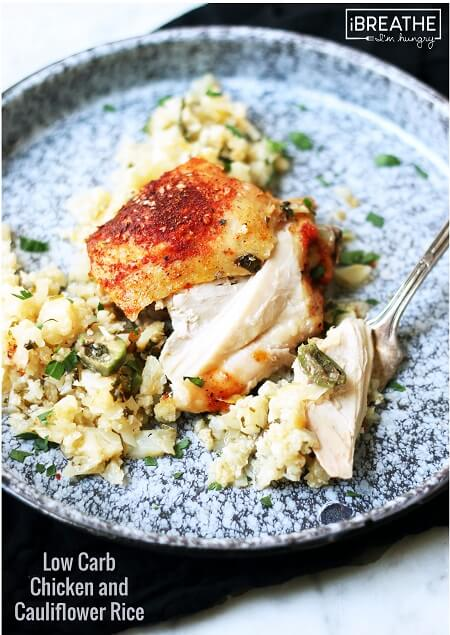 This low carb version of the classic baked chicken and rice is not only delicious, it's also gluten free, grain free, nut free, egg free, Paleo and Whole 30 compliant!