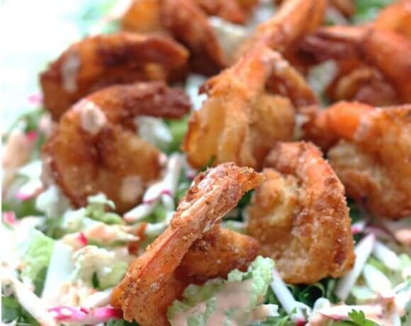 Low Carb Bang Bang Shrimp with Asian Slaw (Gluten Free)