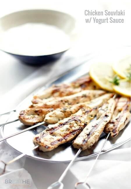 This Grilled Chicken Souvlaki with Yogurt Sauce is fast and easy to make, leaving you lots of time to spend outdoors relaxing this Summer!  Low carb, keto, Paleo, and Atkins diet friendly.