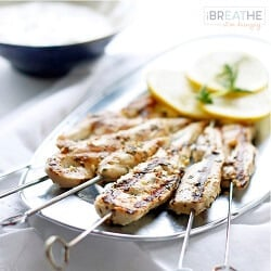 Grilled Chicken Souvlaki with Yogurt Sauce