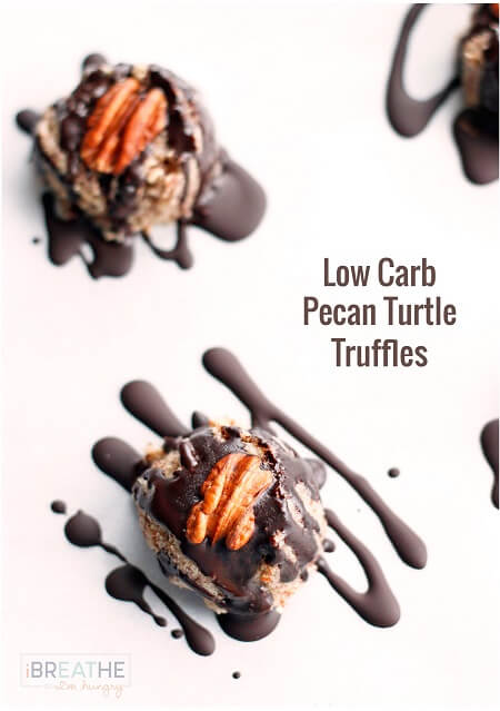 These delicious low carb pecan turtle truffles are no bake and gluten free!!