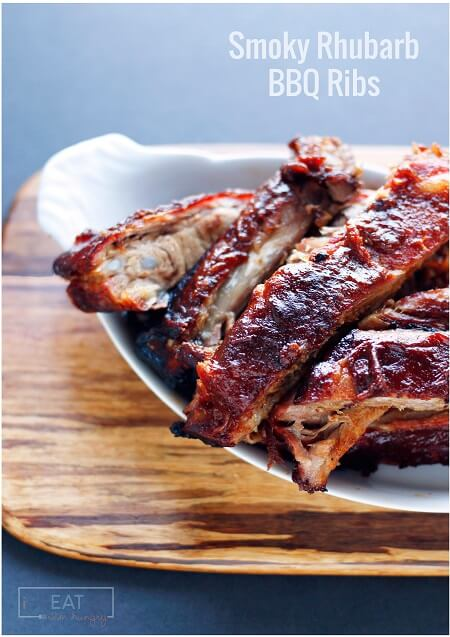 These Smoky Rhubarb BBQ Ribs are sugar free, low carb, and keto friendly - they are also SUPER DELICIOUS. The sauce can also be used on chicken! ibreatheimhungry.com