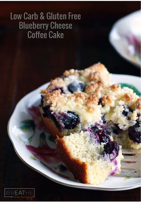 Low-carb blueberry cream cheese coffee cake recipe