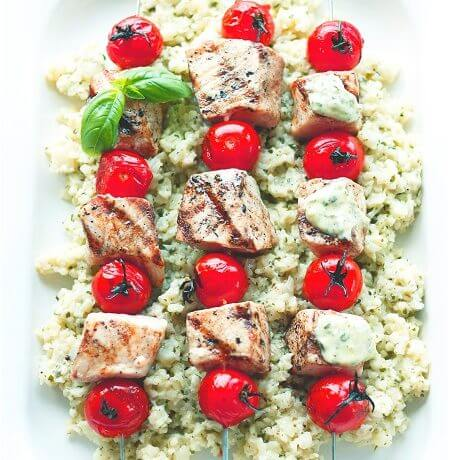 Low Carb Grilled Swordfish Skewers with Pesto Mayo
