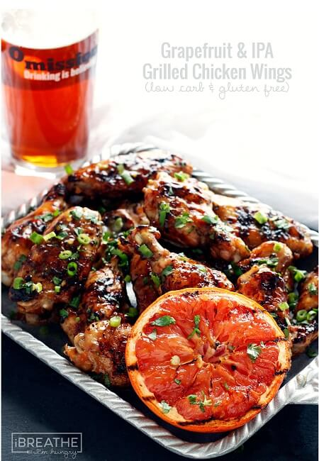 These low carb grilled chicken wings are made with Omission IPA - finally a gluten removed craft beer that actually tastes amazing!!!