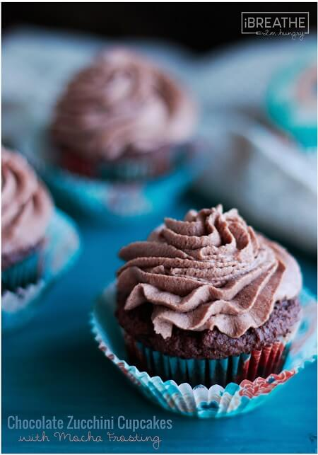 Chocolate Zucchini Cupcakes with Mocha Frosting - Low Carb