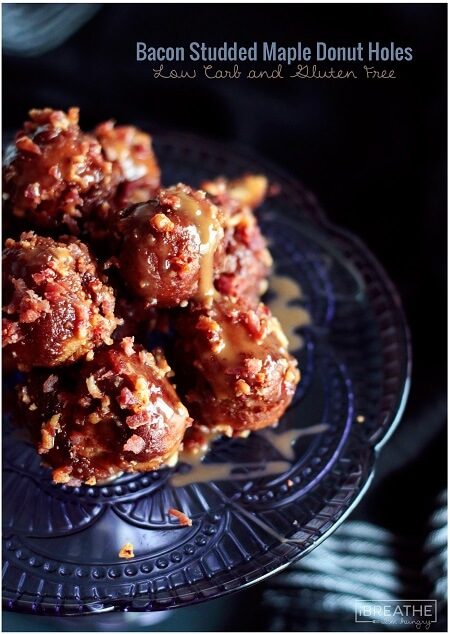 Crunchy on the outside, cakey on the inside, these low carb and gluten free donut holes use caramel as a delicious glue for the bacon!