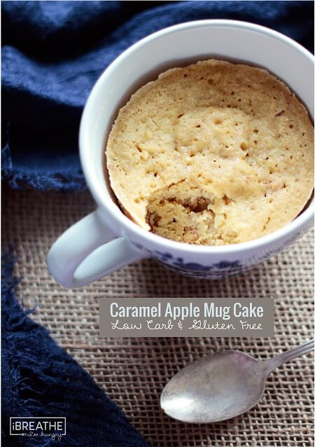 A delicious fall inspired mug cake that is loaded with apples, caramel and walnuts! Low carb and gluten free.
