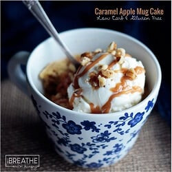 A delicious fall inspired mug cake from I Breathe Im Hungry that is loaded with apples, caramel and walnuts! Low carb and gluten free.