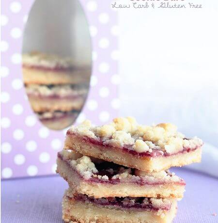 Low Carb Raspberry Linzer Cookie Bars – Gluten Free