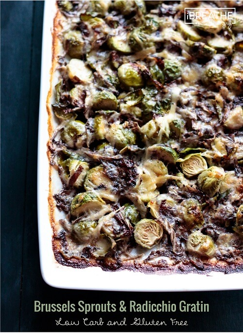 Not much in the looks department, this creamy, cheesy low carb brussels sprouts and radicchio gratin will wow your guests with its flavor!