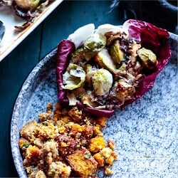Cheesy Low Carb Brussels Sprouts & Radicchio Gratin