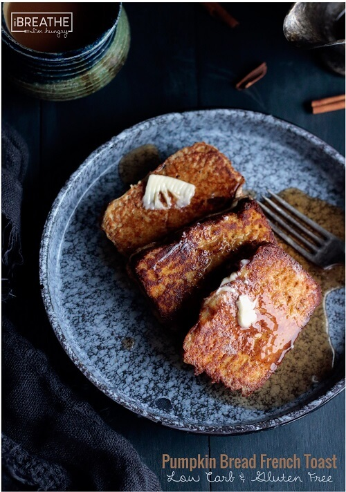 This low carb and gluten free pumpkin bread french toast is perfect for a leisurely weekend breakfast or brunch!