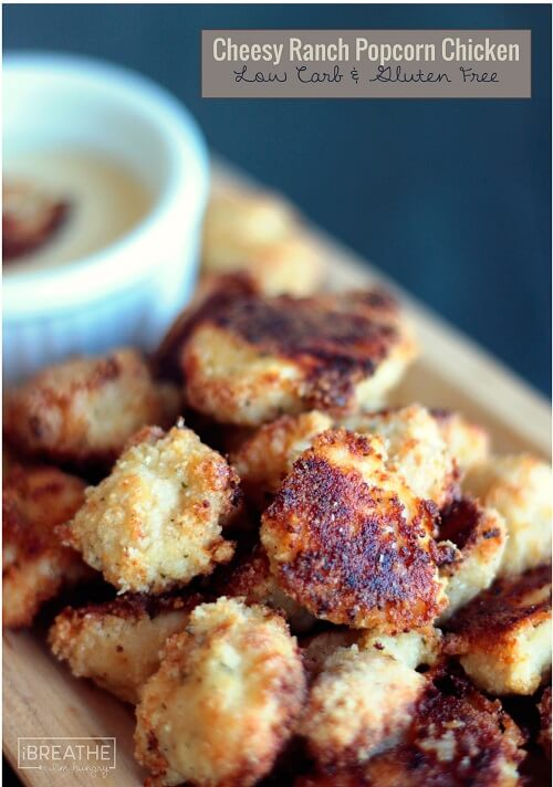 This quick and easy (low carb and gluten free) Cheesy Ranch Popcorn Chicken recipe is a delicious and healthy way to get your family together! #HiddenValleyit