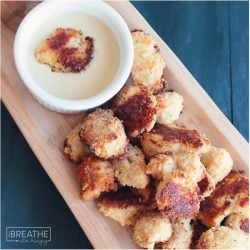 A low carb maple dijon dipping sauce for ranch popcorn chicken