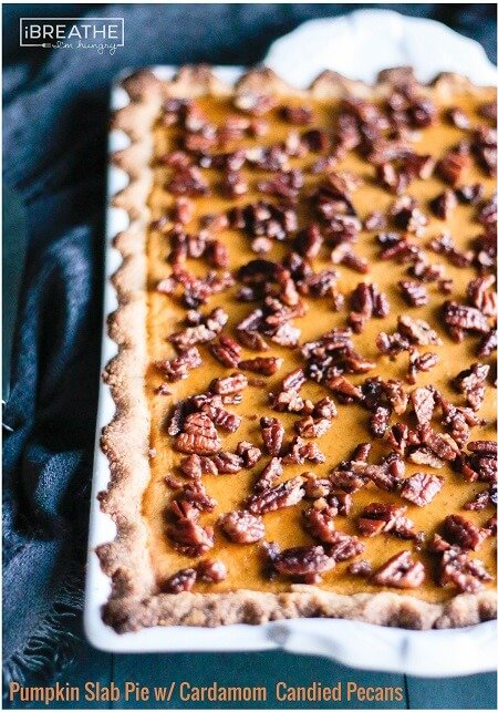 pumpkin slab pie with cardamom candied pecans