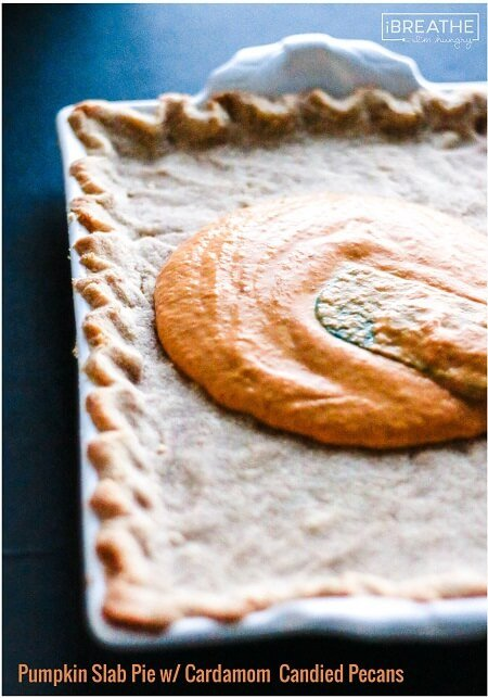 This low carb pumpkin slab pie will be your new favorite! The Cardamom Candied Pecans on top take it to the next level! Keto & Atkins friendly.