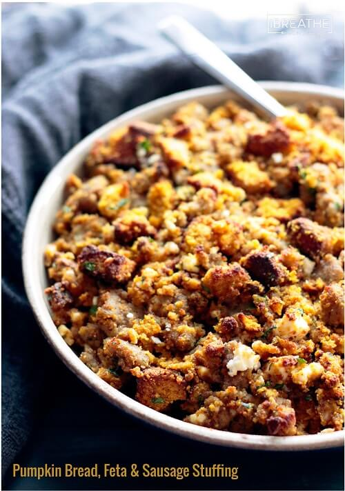 This delicious low carb and gluten free pumpkin bread, sausage & feta stuffing / dressing recipe goes great with roasted turkey!