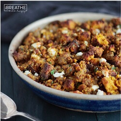 This delicious low carb and gluten free pumpkin bread, sausage & feta stuffing / dressing recipe from Mellissa Sevigny of I Breathe Im Hungry goes great with roasted turkey!