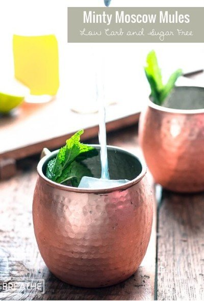 A low carb and sugar free version of the Moscow Mule that is refreshing and festive with a hint of mint!