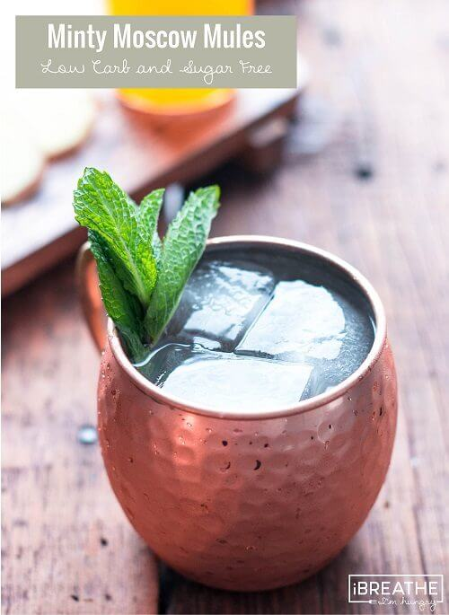 These low carb Moscow Mules have the traditional ginger and lime, but also a hint of mint!
