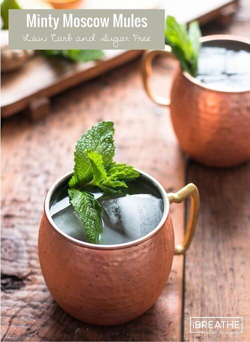 This sugar free Moscow Mule cocktail is loaded with ginger, lime and a hint of mint! Low carb and super festive!