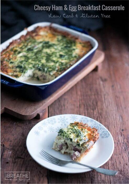 This delicious low carb quiche or casserole has a crispy gluten free crust and is flavored with ham, cheese and spinach!