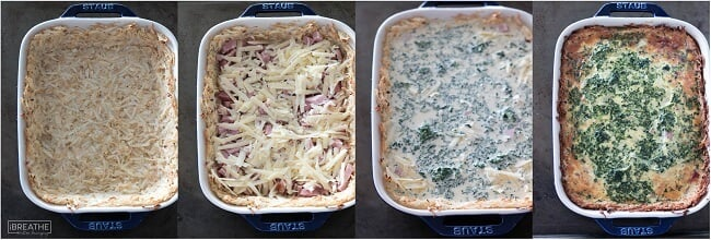 A low carb breakfast casserole flavored with ham, cheese and spinach! Gluten free