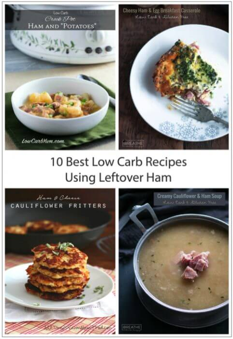 10 great low carb recipes for using up all that leftover ham! Gluten free and Paleo