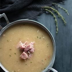 A delicious and satisfying creamy cauliflower soup to use your leftover ham in! Low carb, dairy free, gluten free, whole 30