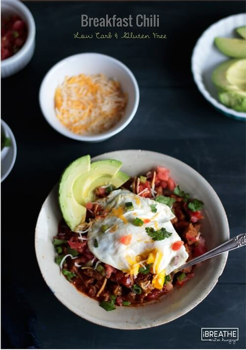 This low carb breakfast chili uses gluten free breakfast sausage as a base! It's perfect for Brinner!