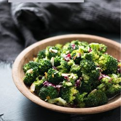 This delicious low carb broccoli salad has a lively dressing that is creamy and light with a punch of ginger and citrus!