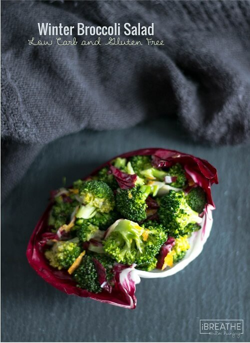 This delicious and super healthy low carb broccoli salad has a creamy but light dressing that delivers a punch of ginger and citrus! Paleo friendly!