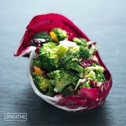 A low carb broccoli salad recipe from Mellissa Sevigny of I Breathe Im Hungry