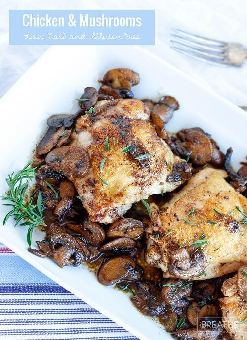 This delicious low carb skillet chicken & mushrooms recipe can be made with any fresh herb! Keto, Paleo, & Whole 30 friendly!