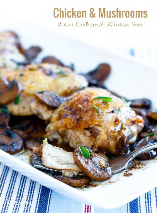 This easy skillet chicken & mushrooms recipe is low carb, egg free, dairy free, nut free, Paleo and even Whole 30 approved! Not to mention delicious!