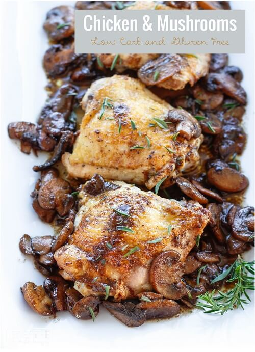 This easy low carb chicken and mushrooms dish can be cooked in your cast iron skillet for crispy skin! Keto and Atkins friendly!