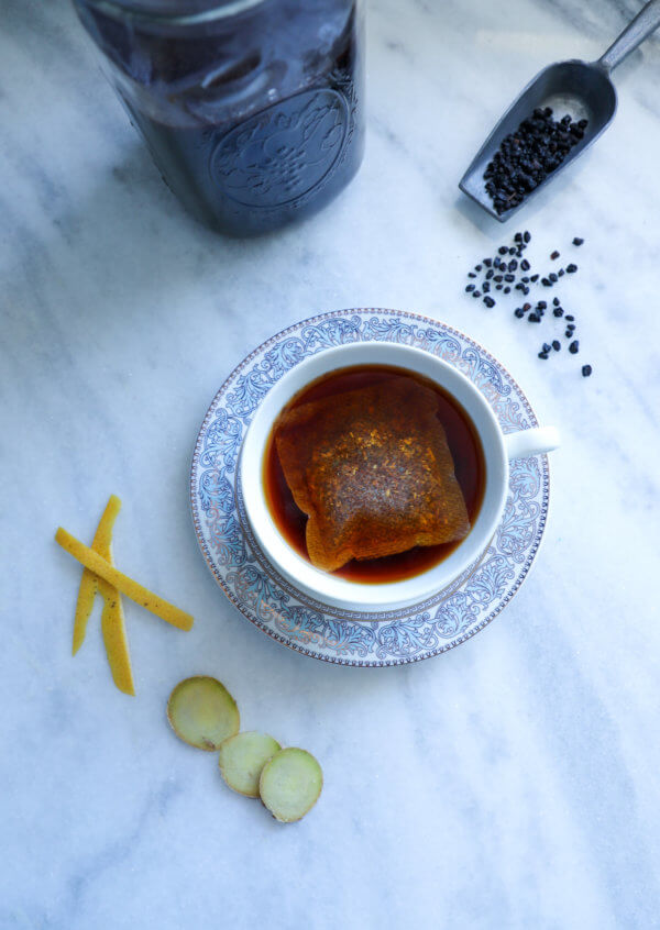 Cup of tea with keto elderberry syrup added