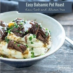 An easy low carb beef pot roast recipe from Mellissa Sevigny of I Breathe Im Hungry that can be made in the instant pot