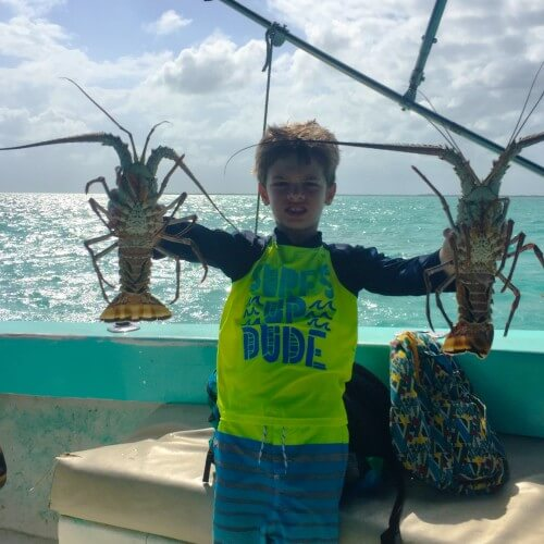Mason with Lobsters