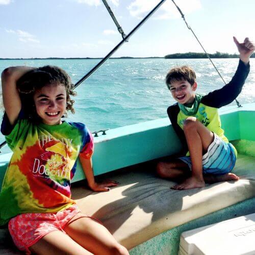Kids on boat reef fishing san pedro