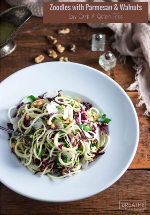 This delicious and hearty zucchini noodle salad is loaded with parmesan, walnuts, radicchio and parsley!