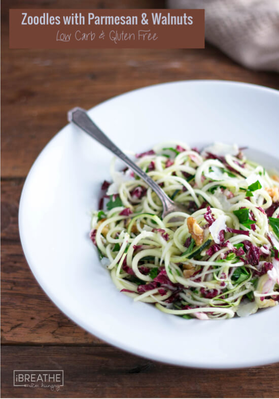 This gluten free salad made with zucchini noodles is hearty and delicious!
