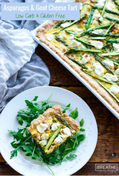 This delicious asparagus tart with pancetta, leeks and goat cheese is perfect for brunch!